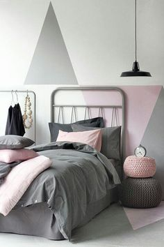 Light Grey and light pink bedroom new colours