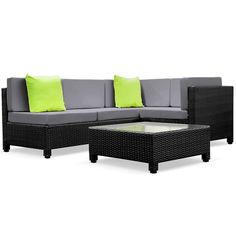 5 Pcs Black Wicker Rattan 4 Seater Outdoor Lounge Set Grey for sale online Affordable Outdoor Furniture, Outdoor Wicker Furniture, Garden Furniture Sets, Couch Grey, Black Sofa, Modular Lounges, Wicker Couch, Lounge Sofa, Outdoor Lounge