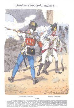 Band III #37.- Österreich-Ungarn. Ungarischer Grenadier. Deutsche Grenadiere. 1799.