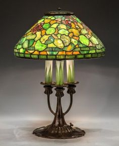 Rare Tiffany Studios New York Leaded Glass Geranium