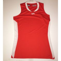 UNDER ARMOUR SLEEVELESS ORANGE AND WHITE TOP SM UNDER ARMOUR SLEEVELESS ORANGE WITH WHITE SIDE PANELS WORKOUT TOP. SEMI- FITTED HEAT GEAR SIZE IS SM. NEVER WORN BUT TAGS HAVE BEEN REMOVED. Under Armour Tops Tank Tops
