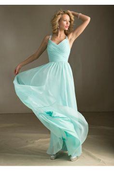 V-neck with Spaghetti straps ruffles bodice chiffon floor length bridesmaid dress