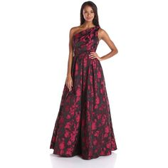 Carmen Marc Valvo Infusion Women's One Shoulder Printed Taffeta... ($328) ❤ liked on Polyvore featuring dresses, gowns, purple gown, taffeta ball gown, purple ball gown, taffeta evening gown and taffeta gown