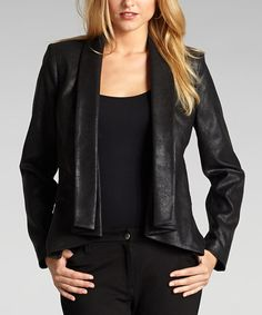 Take a look at this Black Faux Leather Open Jacket - Women by Muse on #zulily today!