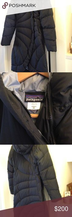 Patagonia Down Parka Puffer Coat Matte Black Patagonia Down Parka Puffer Jacket Long with hat Size is XS but it fits a Large size person as well Very lightweight, Super Warm and Comfortable In Excellent Condition R E A S O N A B L E   O F F E R S  A C C E P T E D Patagonia Jackets & Coats Puffers