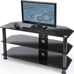 nice Displays2go PTTV50BLK 42-Inch and 50-Inch HDTV Stand, Entertainment Center and Tempered Glass Shelves (Black) - For Sale Check more at http://shipperscentral.com/wp/product/displays2go-pttv50blk-42-inch-and-50-inch-hdtv-stand-entertainment-center-and-tempered-glass-shelves-black-for-sale/