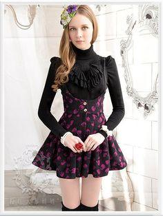 Mango Doll - Black Rose Bow Suspender Skort , $83.00 (http://www.mangodoll.com/all-items/black-rose-bow-suspender-skort/)