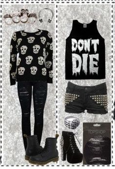 Emo style / outfit / black / don't die / skull