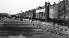 This is a photograph taken of the On-To-Ottawa trek from Vancouver to Ottawa.The men never made it all the way to Ottawa. The men were all from a relief camp and as shown in the evidence above, their main means of transportation was the trains, which had no problem carrying them. The Government ended up stopping the trains and blocking entrances into the city. It lead to the Regina Riot, and did have some influence on the changing of living and working conditions in Canada.