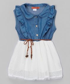 Look at this Ivory & Blue Ruffle Belted Dress - Toddler & Girls on #zulily today!