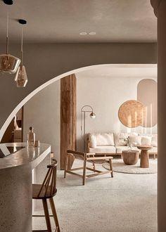 Studio Interior, Apartment Interior Design, Modern Interior, Living Room Inspiration, Interior Design Inspiration, One Wall Kitchen, Curved Walls, Home Studio, Open Plan Living
