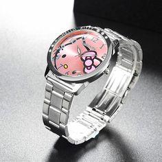 Full Steel Hello Kitty Watch Women Quartz WristWatch Cartoon Cute Watches Children 3D Crystal Fashion Relojes Christmas Gift //Price: $11.58 & FREE Shipping // #hashtag1