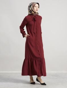 Yakası Nakışlı Elbise Bordo A7 23074   Kayra Online