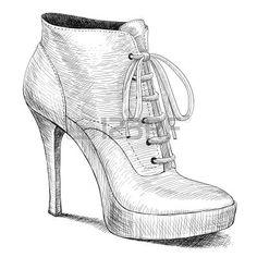 vector tekening vrouw mode hoge hak schoenen laarzen in inkt gravure vintage stijl Stockfoto