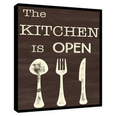 The Kitchen Is Open Wall Decor.