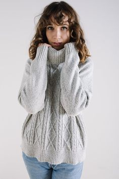 BB Dakota: Jack Alice Cable Knit Sweater in Ivory