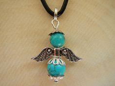 Zauberhaftes Engel-Amulett von Erzengel Nathanael aus Edelsteinen mit Perlkappen in Antiksilber-Optik.  Symbolik: Führung, Spiritualität, Wunder