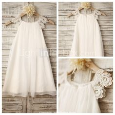 Sheath / Column Knee-length Flower Girl Dress - Chiffon / Lace Sleeveless Scoop…