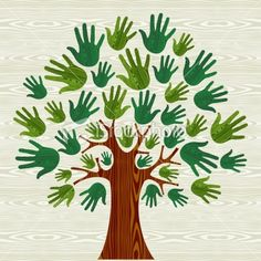 Illustration of Eco friendly tree hands illustration for greeting card over wooden pattern. file layered for easy manipulation and custom coloring. vector art, clipart and stock vectors. Hand Illustration, Diy And Crafts, Arts And Crafts, Paper Crafts, Fall Crafts, Diy For Kids, Crafts For Kids, Art Projects, Projects To Try