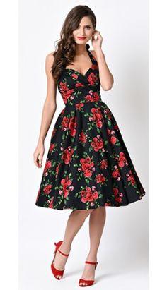 1950s Retro Rose Floral Halter Dress