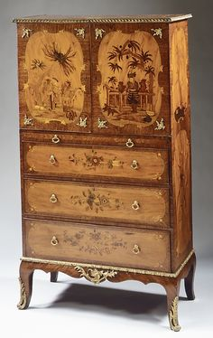Writing cabinet Date: ca. 1770 Culture: British Medium: Pine and oak carcase, mahogany and satinwood veneer, marquetry of satinwood and tinted wood.