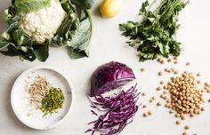 Roasted cauliflower and tahini salad