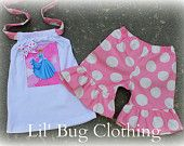 Custom Boutique Clothing Disney Princess Pink Jumbo Dot Short and Halter Top