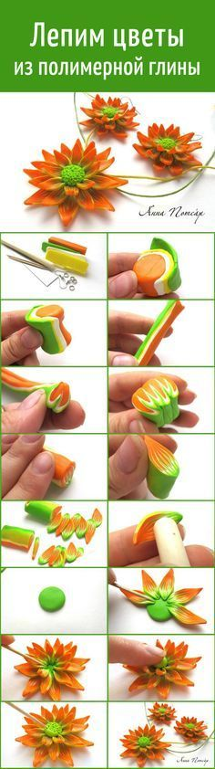 clay flowers tutorial DIY- its in another language but the pictures are good Polymer Clay Kunst, Polymer Clay Canes, Polymer Clay Flowers, Fimo Clay, Polymer Clay Projects, Polymer Clay Creations, Clay Beads, Polymer Clay Jewelry, Clay Crafts