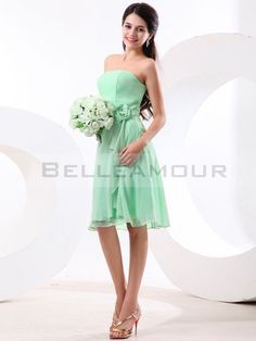 Robe demoiselle d'honneur Verte Bustier Fleur Courte Chic