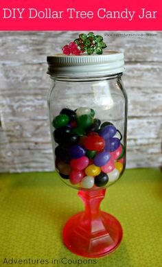 This adorable candy jar #craft is #budget friendly using only supplies found at Dollar Tree stores! Kid friendly #DIY home decor for cheap! | Adventures in Coupons
