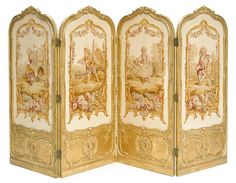 A French carved giltwood and Aubusson tapestry four fold floor screen late 19th century