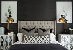 hamptons-style-master-bedroom-with-black-wall-and-tufted-headboard