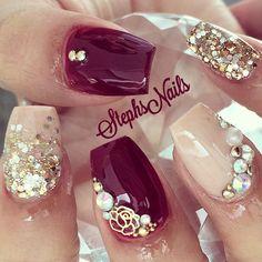 #coffinnails#nude#gold#silvermix#glitterombre#chunkyglitter#redplumburgundy#darkcolor#cutecolor#fallnails#nudenails#diamonds#cystals#rose#cutenails#goldstuds#detail#love