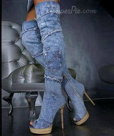 Recycled Jeans Stylish Long Shoes