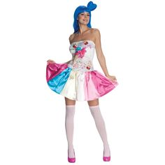 Let out the sugary sweet part of you!  Get ready for non-stop fun in a world of sweetness when you turn yourself over to California Gurl style in the Katy Perry Candy Girl Adult Costume. Costume includes colorful dress with candy accents. Glam text closing sentence.