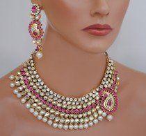 goldpolish fusicha pink and white kundan set-1931