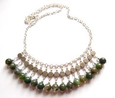 Necklace with green agate beads. Lady of the Lake Smycken http://ladyofthelake.se