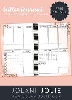 Free Printable: Peonies Bullet Journal Weekly Overview - Jolani Jolie