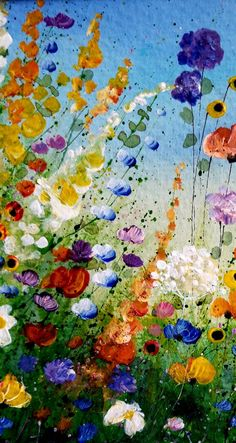 Your place to buy and sell all things handmade Acrylic Painting Flowers, Abstract Flowers, Painting Abstract, Flower Collage, Flower Art, Art Floral, Painting Templates, Art Abstrait, Les Oeuvres