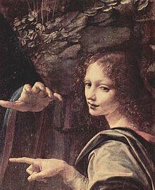 Vergine delle rocce, Leonardo da Vinci, dettaglio l'angelo