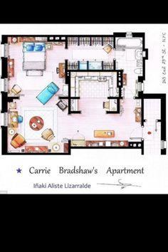Floor plans on pinterest apartment floor plans - Carrie bradshaw apartment layout ...