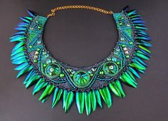 Hey, I found this really awesome Etsy listing at https://www.etsy.com/listing/269809760/beetle-wings-statement-necklace-emerald