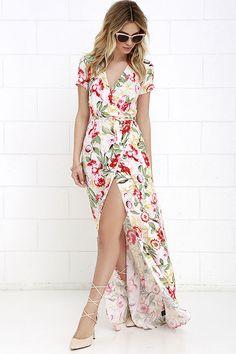 Vine Art Ivory Floral Print Wrap Maxi Dress at Lulus.com!