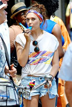 Elizabeth Olsen wore a pair of Element Eden shorts while filming scenes for her new movie, Very Good Girls, in Brooklyn July 5.