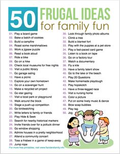 50 Frugal Ideas for Family Fun (free printable list) Family Fun Night, Family Bonding, Chores For Kids, Toddler Fun, Family Traditions, Raising Kids, Family Activities, Kids And Parenting, Frugal
