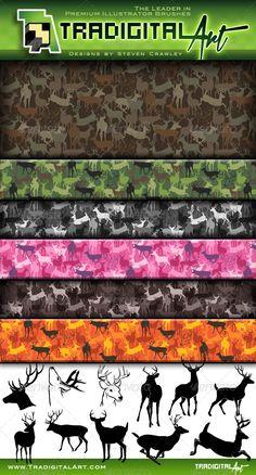 Buck & Bull (Deer & Elk Camo) Pattern Set + — Photoshop PSD #deer camo #adobe illustrator pattern • Available here → https://graphicriver.net/item/buck-bull-deer-elk-camo-pattern-set-/8183266?ref=pxcr