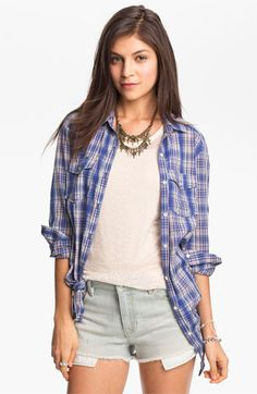 Rubbish Oversized Plaid Shirt (Juniors) available at #Nordstrom