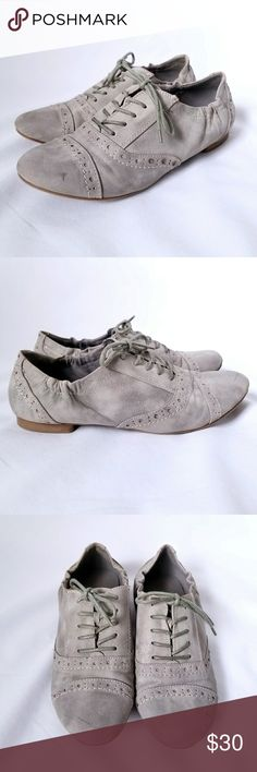 Graceland Gray Lace Up Cap Toe Oxfords Size 37 (usually this is a US size 7) The outside of the shoe is a suede or suede-like material The inside of the shoe is a canvas material Shoes are gently worn Color is gray Shoe laces are gray Style is cap toe oxford Graceland Shoes Flats & Loafers