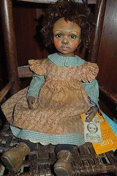 "Rebecca Kerin Folk Art Dolls ~ Cythia, 20"" tall Antique fabric dress & pinafore. Wool hair"