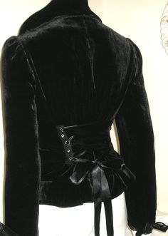 Vintage+Black+Velvet+Corset+Jacket+Coat+Goth+Lolita+by+r3vamp,+£32.00